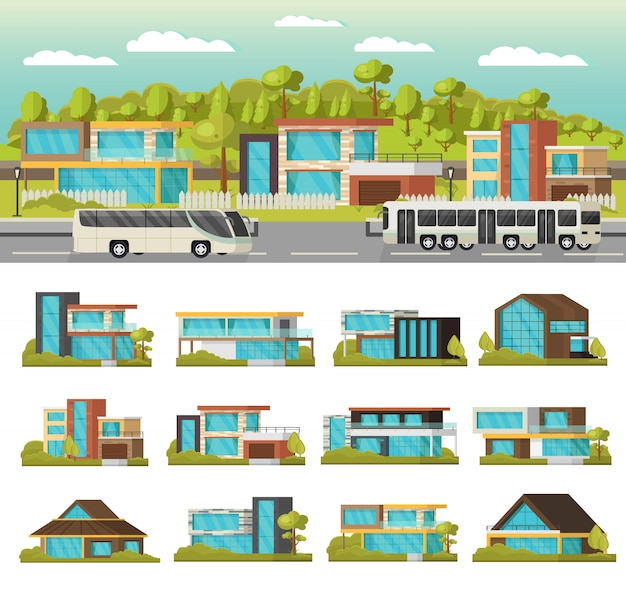 Composition de maisons modernes