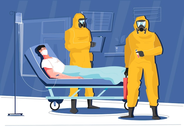 Composition de la maladie infectieuse avec le patient et les médecins en illustration de combinaisons chimiques
