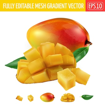 Composition de mangue entière et coupée en dés avec des feuilles vertes.