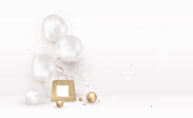 Composition de maquette de scène avec un paquet cadeau de ballons sur une salle blanche
