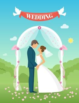 Composition de mariage plat