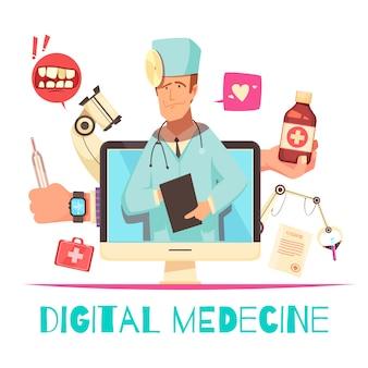 Composition de médecine numérique avec consultation en ligne et illustration de dessin animé d'équipement de radiographie et de laboratoire de recette