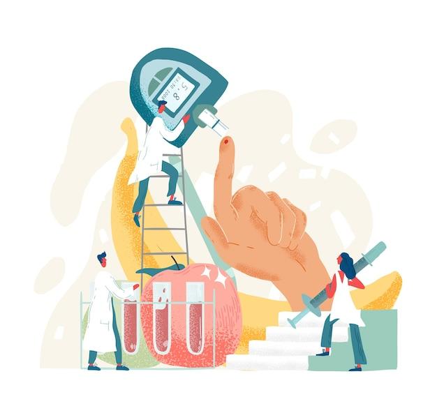 Composition avec des médecins ou des médecins tenant un testeur de sang de doigt ou de piqûre. dispositif médical pour le test de glucose ou le contrôle du taux de sucre