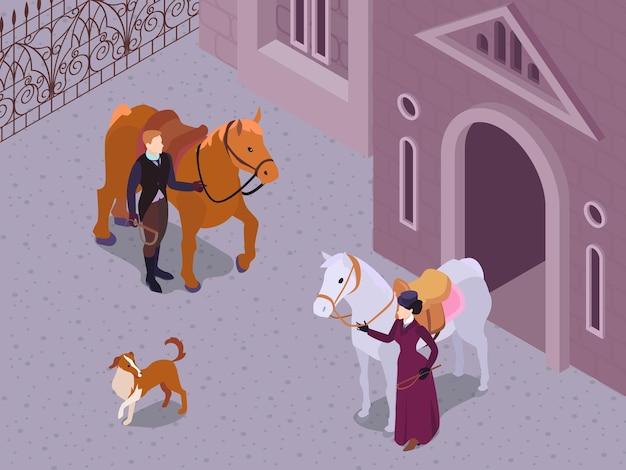 Composition de mode victorienne isométrique avec des paysages extérieurs et des personnages de gentleman et de lady snaffing
