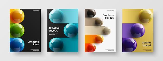 Composition de modèle de couverture de catalogue d'orbes 3d modernes