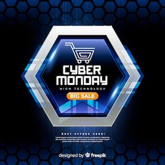 Composition moderne de cyber lundi avec un design réaliste
