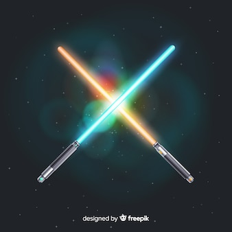 Composition moderne avec deux épées croisées
