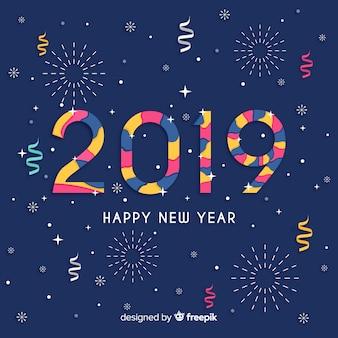 Composition moderne du nouvel an 2019 avec un design plat