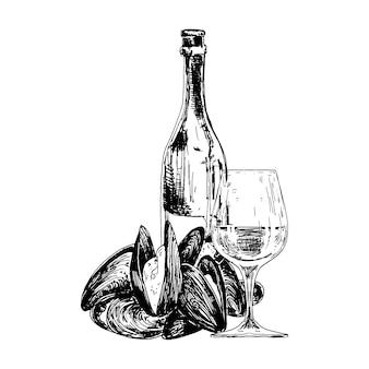 Composition avec moules, bouteille de vin et verre