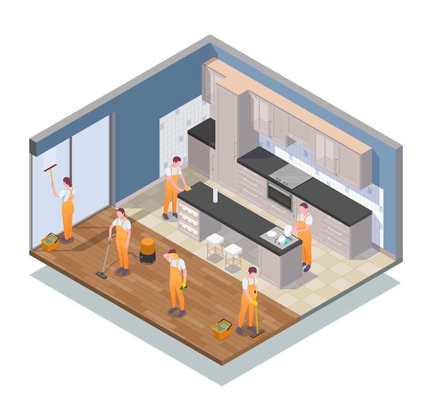 Composition de nettoyage isométrique avec des nettoyants travaillant dans l'illustration de l'appartement