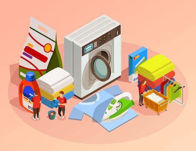 Composition de nettoyage à sec isométrique de blanchisserie