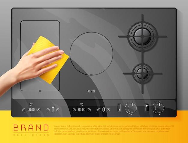 Composition de nettoyage des surfaces de la table de cuisson
