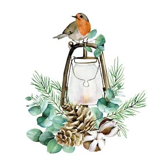 Composition de noël aquarelle avec oiseau d'hiver lanterne vintage fleurs de coton eucalyptus