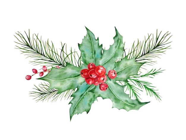Composition de noël scandinave aquarelle. décoration d'hiver dessinée à la main. bouquet de feuilles, brindilles, branches de pin et baie de houx