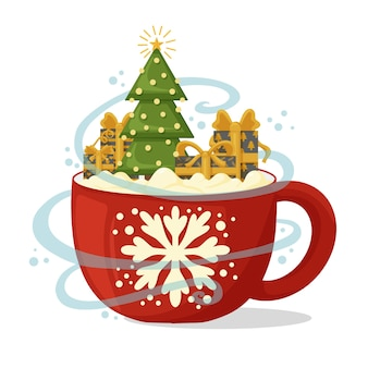 Composition de noël avec tasse de café, arbre de noël et cadeaux.