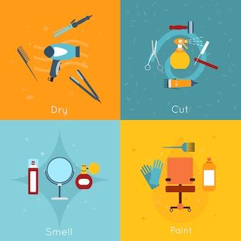 Composition d'objets de coiffeur mis à plat