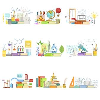 Composition d'objets liés à différentes sciences