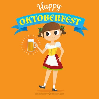 Composition d'oktoberfest classique dessiné à la main