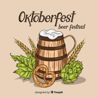 Composition d'oktoberfest dessiné à la main élégante