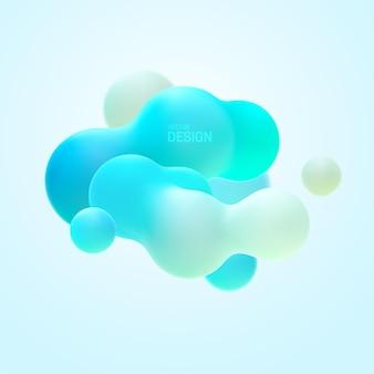 Composition organique abstraite avec nuage de cluster de formes dégradé liquide turquoise