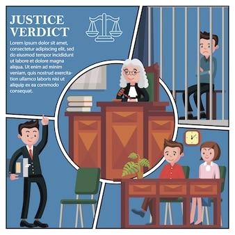 Composition des participants à la session judiciaire plate avec avocat juge du jury et défendeur assis derrière les barreaux