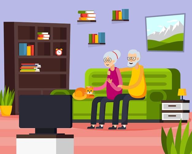 Composition de personnes âgées à plat