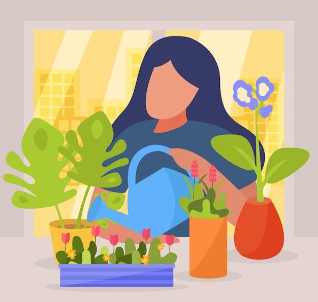 Composition de personnes plates de passe-temps avec un personnage sans visage de femme arrosant des fleurs dans des pots sur le rebord de la fenêtre