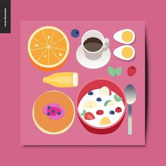 Composition de petit déjeuner choses simples