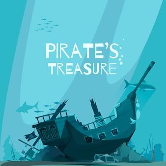Composition de pirates avec des paysages sous-marins et des poissons avec une épave de bateau pirate coulée avec du texte