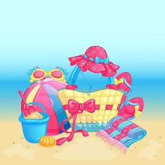 Composition de plage d'été sur le fond de la mer.
