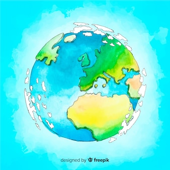 Composition de la planète terre dessiné main belle