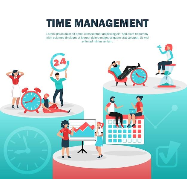 Composition à plat du concept de gestion du temps réussie avec définition des limites de temps pause entre les tâches planification à venir illustration