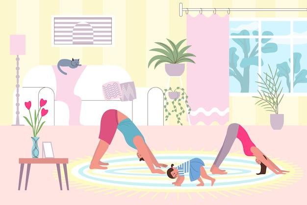 Composition à plat de gym à domicile avec des paysages et des personnages de salon confortables