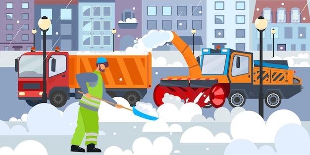 Composition de plat de neige de nettoyage de rue avec vue extérieure de la rue de la ville d'hiver avec équipement de déneigement