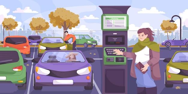 Composition à plat de paiement de stationnement avec des voitures de paysage de parking extérieur et une conductrice touchant le terminal de paiement