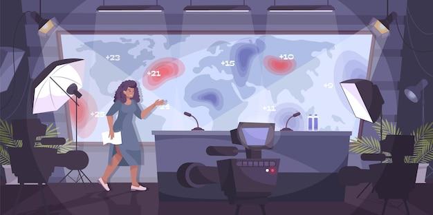 Composition à plat de prévisions météorologiques avec paysage intérieur de studio de télévision avec caméras et femme à l'écran illustration