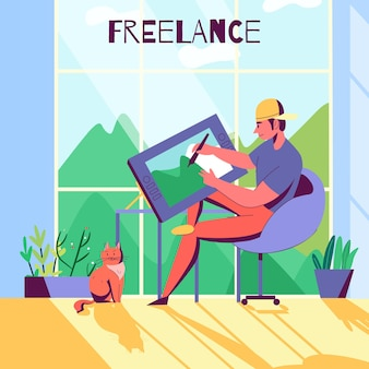 Composition à plat de profession créative avec un designer indépendant travaillant à la maison illustration