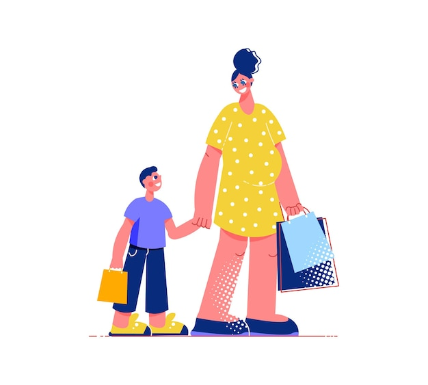 Composition à plat de shopping en famille avec des personnages de fils et de mère avec des sacs à provisions
