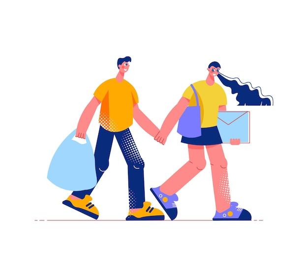 Composition à plat de shopping en famille avec des personnages d'homme et de femme se tenant la main avec des sacs à provisions