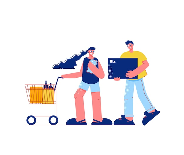 Composition à plat de shopping en famille avec des personnages d'homme tenant une boîte et une femme avec un chariot