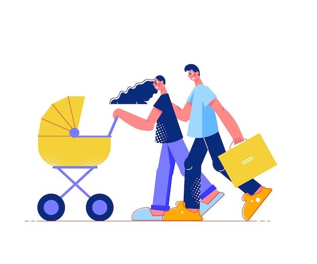 Composition à plat de shopping en famille avec des personnages de parents avec poussette de bébé