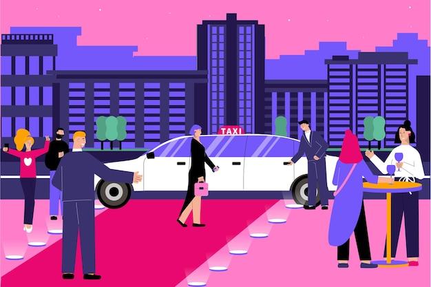Composition à plat de taxi vip avec paysage urbain en soirée et tapis rouge avec personnages humains et illustration de limousine