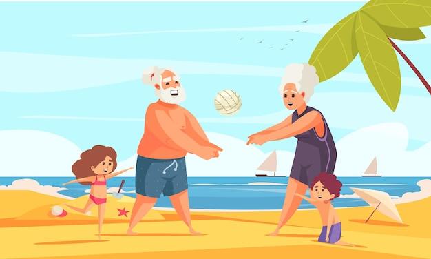 Composition plate de l'activité physique des personnes âgées avec des grands-parents jouant au beach-volley sur le sable avec illustration de petits-enfants