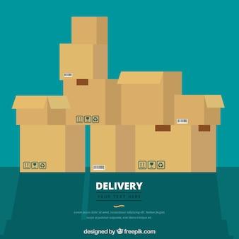 Composition plate avec boîtes en carton empilées