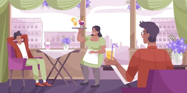 Composition plate de café de boisson fraîche avec un design d'intérieur de café et un serveur apporte une boisson au visiteur