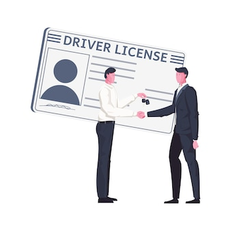 Composition plate avec carte de permis de conduire et deux personnages masculins