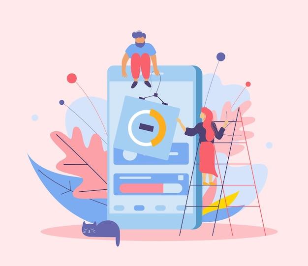 Composition plate de développement d'applications avec des images de personnages humains doodle d'échelles de smartphone et de fleurs avec des feuilles