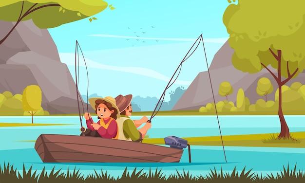 Composition plate du complexe de vacances de pêche avec jeune couple en bateau à moteur sur l'illustration du poisson à la ligne du lac