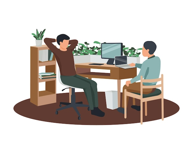 Composition plate d'espace de travail contemporain avec un couple de collègues assis sur des meubles en bois entourés d'illustrations de plantes d'intérieur