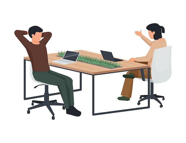Composition plate d'espace de travail contemporain avec vue sur l'espace de travail avec deux ordinateurs portables de travailleurs et illustration de plantes domestiques